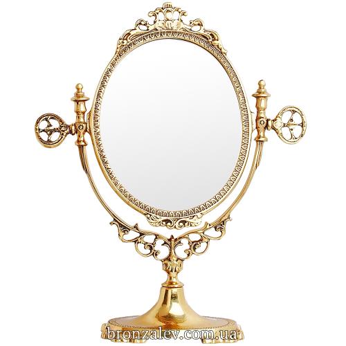 Настольное, винтажное зеркало в классической бронзовой рамке - «Овальное 2»