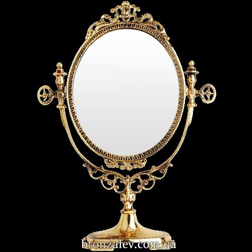 Овальное, винтажное зеркало в обрамлении из бронзы