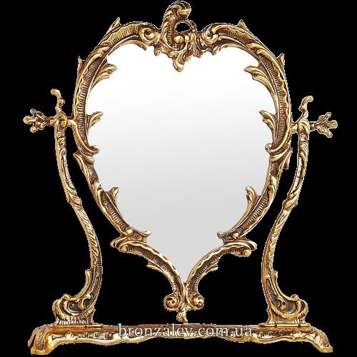 Зеркало настольное, в декоративной бронзовой раме - «Сердце»