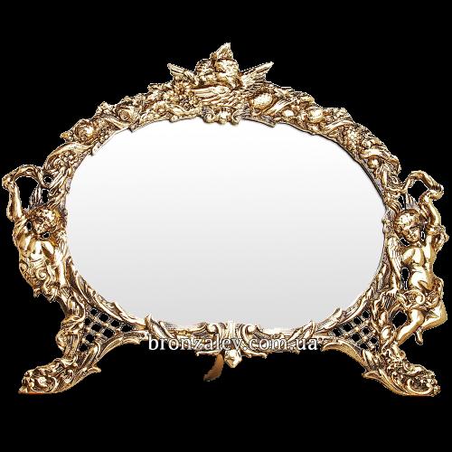 Настольное зеркало в декоративной раме с амурами — «Венок»