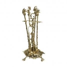 Бронзовый набор для камина «Дикие звери»
