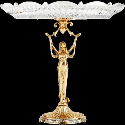 Тарелка хрустальная, диаметр 28 см. на бронзовой подставке - «Девушка»