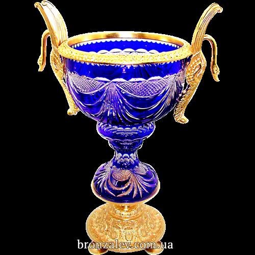 Хрустальная напольная ваза, в обрамлении из позолоченной бронзы