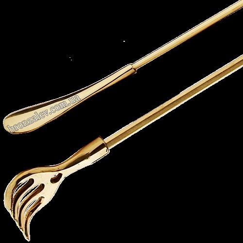 Бронзовая чесалка для спины с ложкой для обуви — «Восторг» длина 56 см