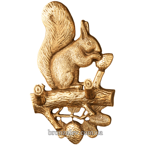 Настенная, бронзовая вешалка для ключей — «Белка»