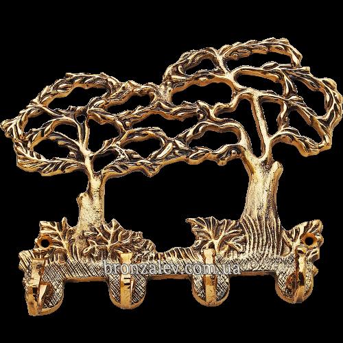 Ключница настенная, декоративная из бронзы — «Два дерева»