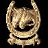 Декоративная, настенная ключница из бронзы с 3 крючками — «Подкова с лошадьми» (рогами вверх)