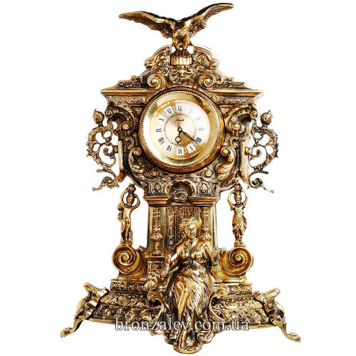 Часы каминные из бронзы — «Хранители времени»