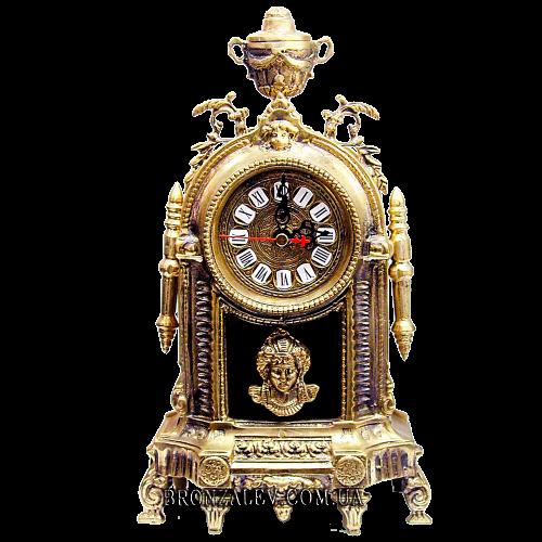 Оригинальные бронзовые часы с подсвечником — «Раджа»
