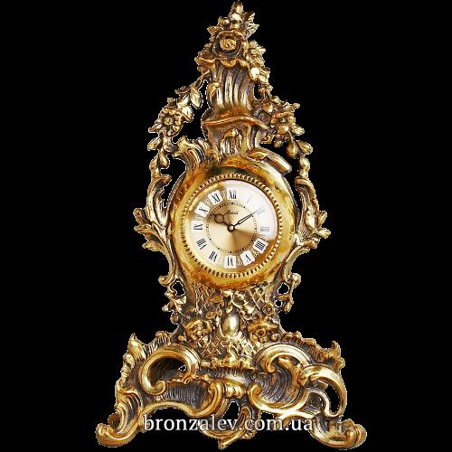 Часы из бронзы на каминную полку  — «Венок из цветов»