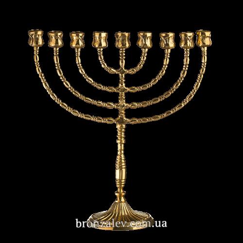 Ханукальная менора из бронзы для 9 свечей