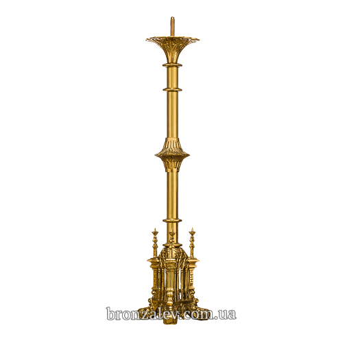 Напольный бронзовый подсвечник для 1 свечи «Готический»