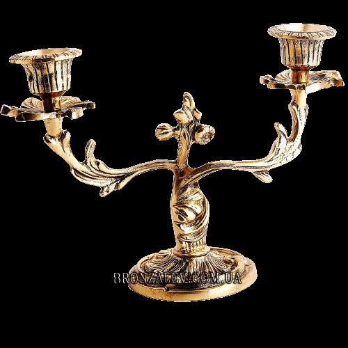 Подсвечник бронзовый для 2 свечей - «Дуэт»