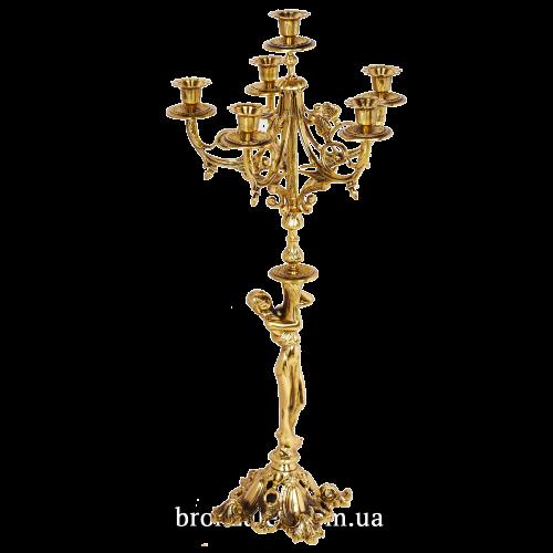 """Канделябр бронзовый для 6 свечей """"Девушка с кувшином"""""""