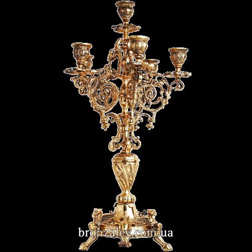 Канделябр из бронзы под 6 свечей  — «Ажурный»