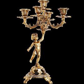 Подсвечник бронзовый на 5 свечей «Амур»