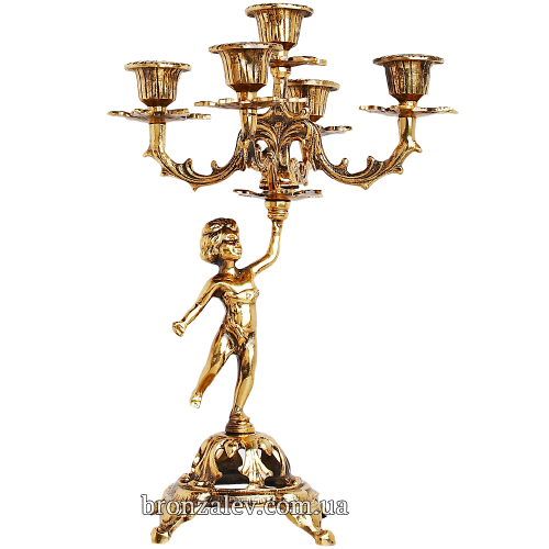 Подсвечник бронзовый для 5 свечей - «Амур»