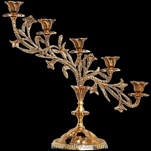 Бронзовый подсвечник для 5 свечей «Каскад»