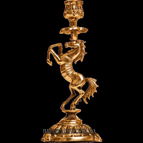 Подсвечник бронзовый для 1 свечи - «Конь»