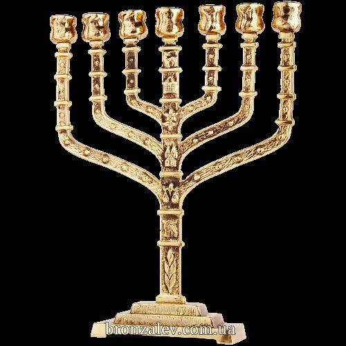Подсвечник из бронзы для 7 свечей «Менора иерусалимская»