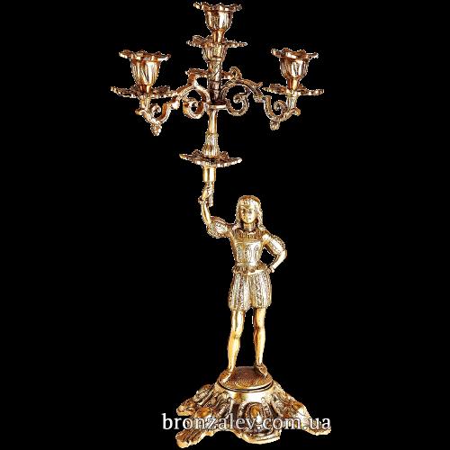 Подсвечник бронзовый для 4 свечей - «Паж» (2-й вариант)