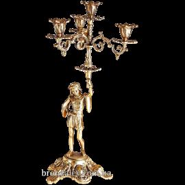 Подсвечник бронзовый на 4 свечи «Паж»