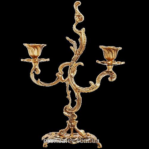Подсвечник бронзовый для 2 свечей - «Пламя»