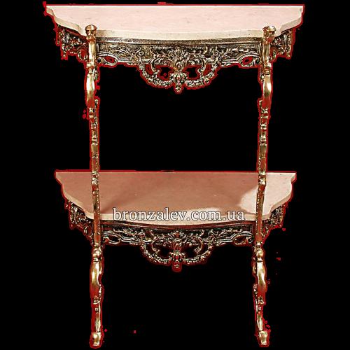 Бронзовый столик с двумя мраморными столешницами - «Консольный»