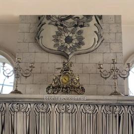 Каминные часы «Охота» с 2 подсвечниками на 3 свечи