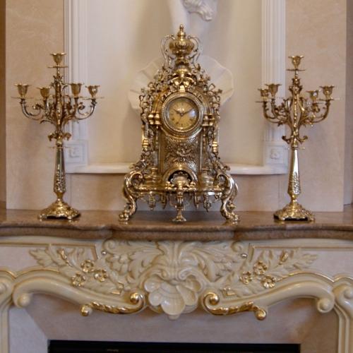 Бронзовый комплект - часы с канделябрами на 5 свечей