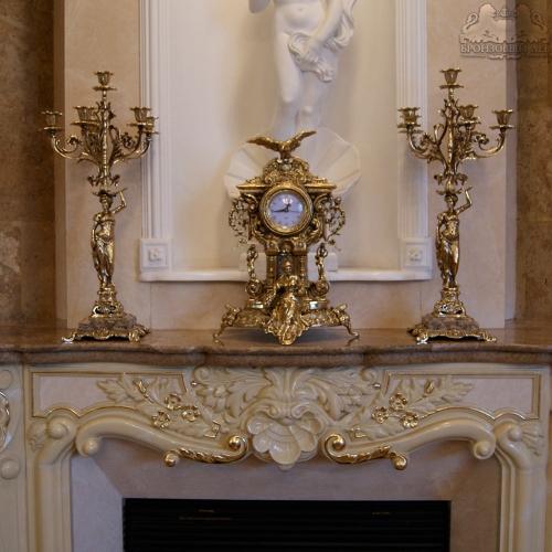 Бронзовый набор. Каминные часы «Ампир» с канделябрами для 6 свечей «Грация»